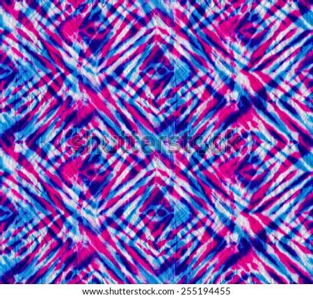 tie dye  seamless pattern. diagonal checks. traditional coloring technique, layered tints.  - stock photo