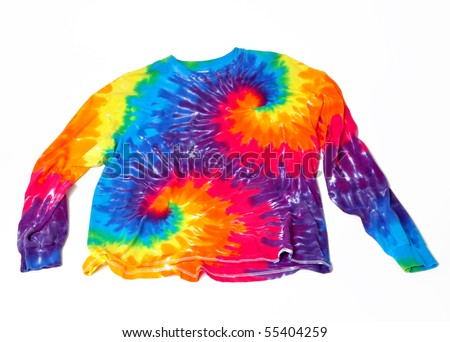 Tie dye shirt on a white background - stock photo