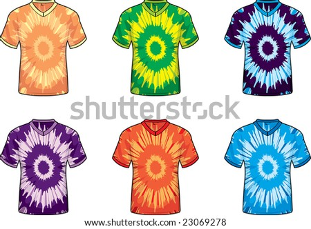 Tie Dye V-Neck Shirts - stock photo