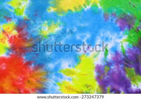 tie dyed pattern on cotton fabric for background.