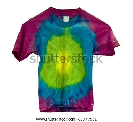 Tie dyed shirt isolated on white - stock photo