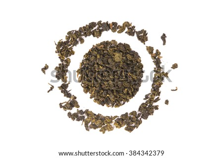 Tie Guan Yin Oolong tea, high angle view isolated on white background  - stock photo