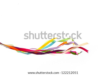 Tie of assorted ribbons isolated in a white background - stock photo