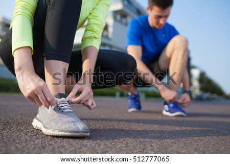 tie the running shoes