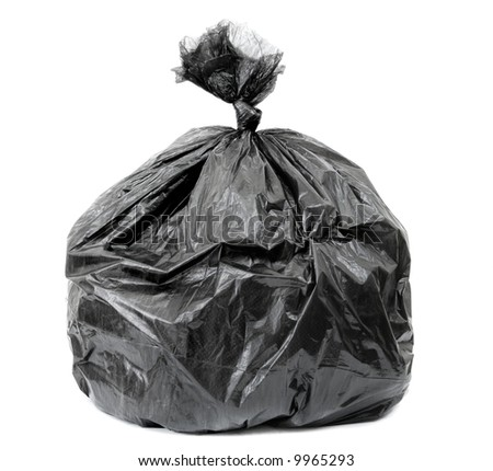 tied black rubbish bag isolated on white background, - stock photo