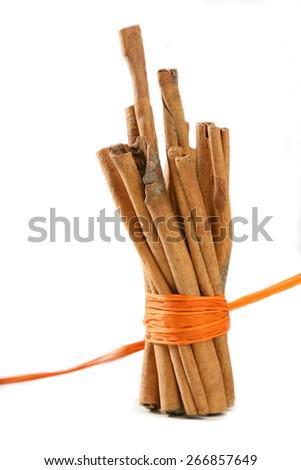 Tied Bunch of cinnamon Sticks - stock photo
