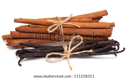 tied cinnamon and vanilla beans isolated on white backgorund - stock photo