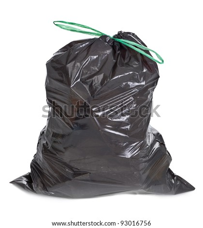 tied garbage bag on white background