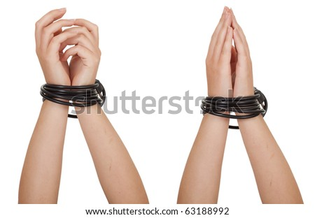 tied hands isolated on the white background - stock photo