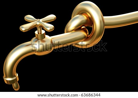 tied in a knot golden tap. a drop of gold flowing from the tap. - stock photo