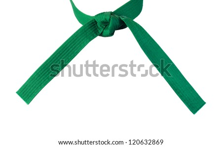 Tied Karate  green belt closeup isolated on white background - stock photo