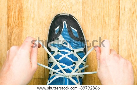 tied laces - stock photo
