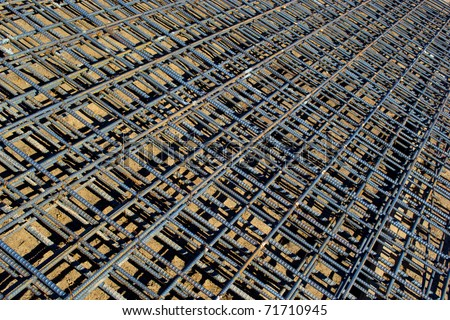 Tied Rebar Reinforcing Steel Panels - stock photo