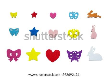 Tied-Ribbon Star Heart Butterfly Rabbit Paper Cuts - stock photo