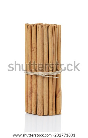 tied true ceylon cinnamon sticks, isolated on white background