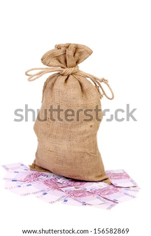 Tied up sack standing on five hundred euro. Isolated on a white background. - stock photo