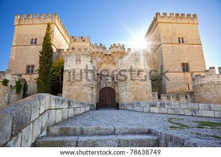 Tiedra Castle at sunset. Province of Palencia, Spain - stock photo