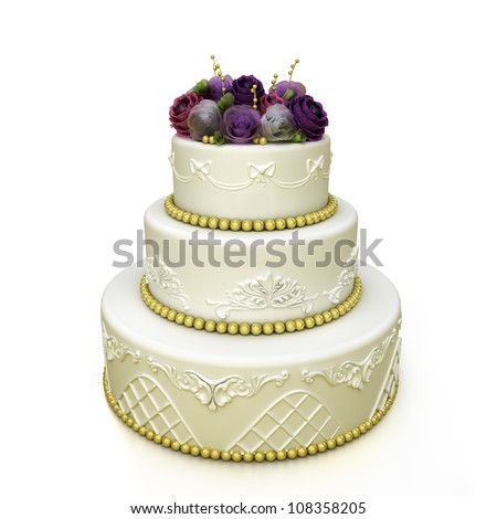 tiered wedding celebration cake with sugar roses and patterns. Isolated on white background
