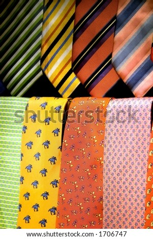 Ties in a neat row. - stock photo