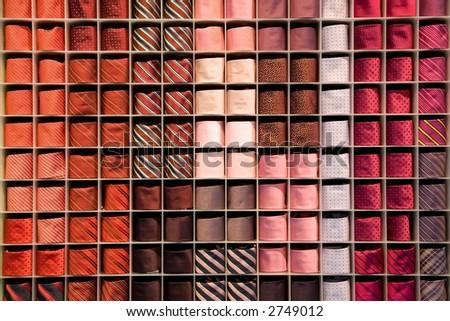 Ties in a rack - stock photo