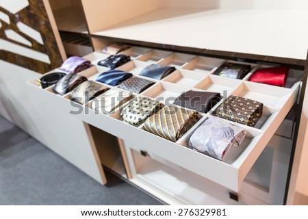 Ties in wardrobe - stock photo