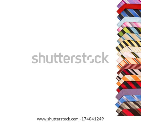 Ties isolated on white background. Masculine striped, varicolored with a different picture.