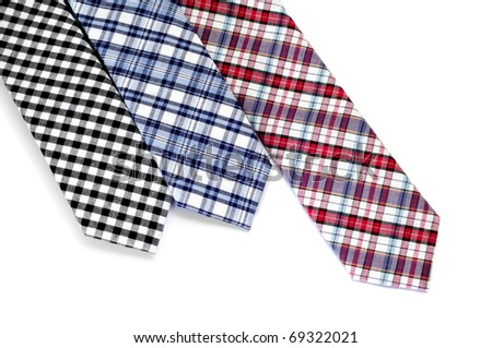 ties of different colors and patterns on a white background