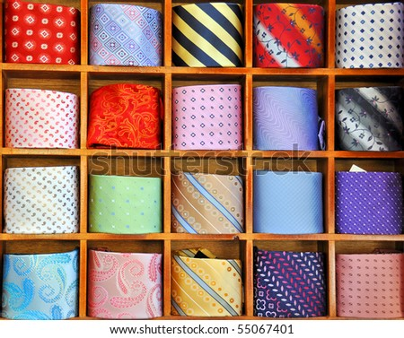 Ties on the shelf of a shop in Como region, Italy - stock photo