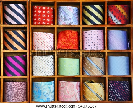 Ties on the shelf of a shop in Como region, Italy, famous for its silk manufacture - stock photo