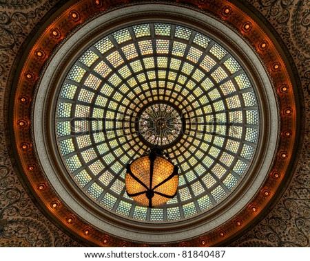 Tiffany's stained glass ceiling dome with chandelier at the Chicago Cultural Center