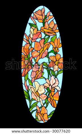 Tiffany-style stained glass panel - stock photo