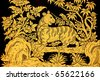 tiger and bird in traditional Thai style art painting on window of the temple - stock photo