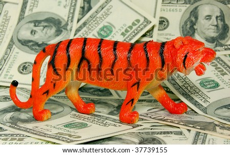 TIGER (Chinese horoscope â?? sign of 2010 year) on dollars background - stock photo