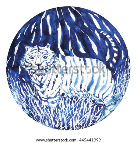 tiger chinese zodiac happy new year, watercolor painting minimal style symbol