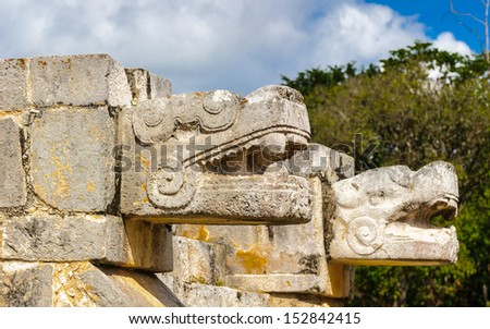 Tiger head construction of Chichen Itza, a large pre-Columbian city built by the Maya civilization. Mexico - stock photo