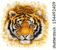 tiger head digital painting/ wild tiger - stock photo