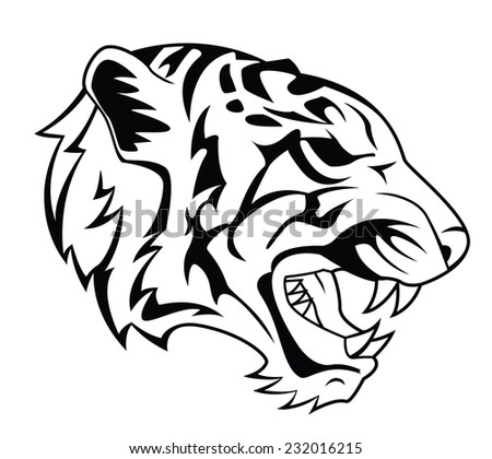 Tiger Head Tattoo - stock photo