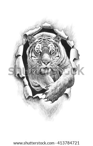 Tiger jumping punches metal. Pencil drawing illustration