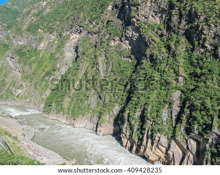 Tiger Leaping Gorge, Yangtze river, Lijiang City, Yunnan Province, China. - stock photo