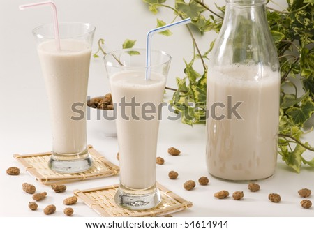 Tiger nut milk in two glasses. Refreshing cold drink from Valencia. Horchata de chufa. - stock photo
