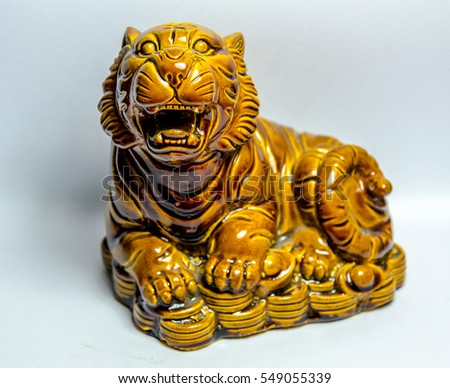 Tiger on Chinese money ceramic