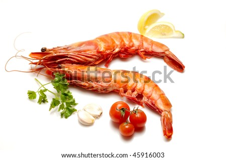 tiger shrimps and tomatoes - stock photo