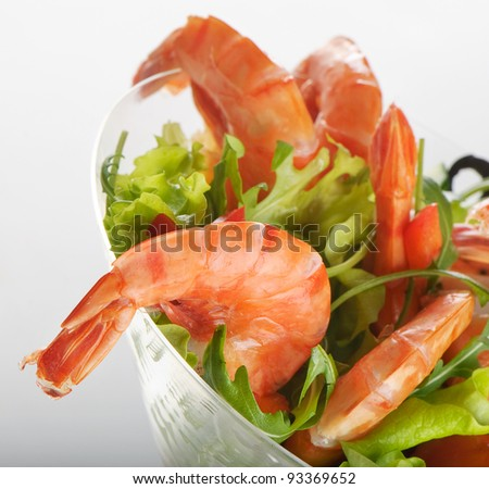 tiger shrimps salad - stock photo