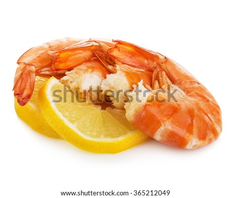Tiger shrimps with lemon slice . Prawns with lemon slice isolated on a white background. Seafood - stock photo