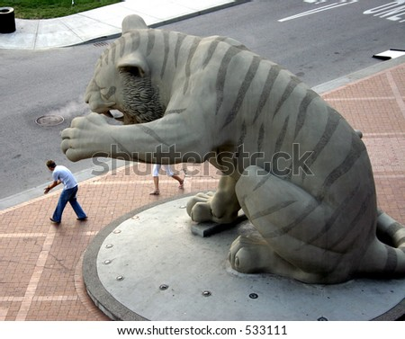 Tiger statue outside of Comerica Park in Detroit - stock photo
