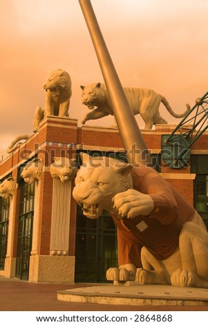 Tiger statues in front of tiger stadium - stock photo