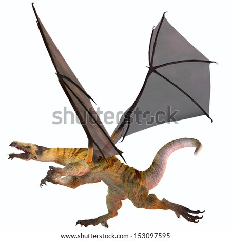 Tiger Striped Dragon - A creature of myth and fantasy the dragon is a fierce flying monster with horns and large teeth. - stock photo