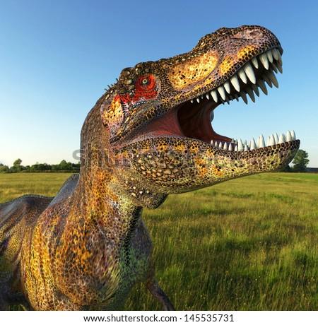 tiger t rex on grass close up - stock photo