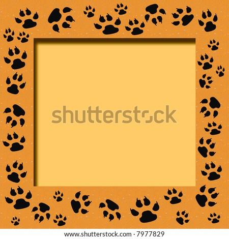 tiger tracks frame scrapbook cutout page  illustration - stock photo