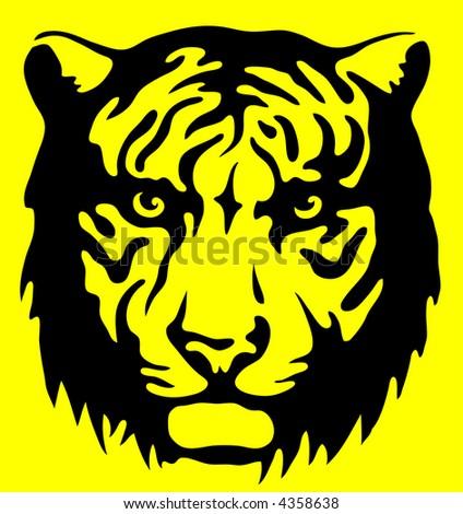 Tiger warning sign - stock photo